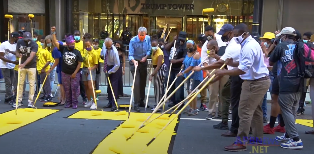 NYC Mayor Bill de Blasio Joins in to Paint the Fifth Avenue Black Lives Matter Mural outside of Trump Tower