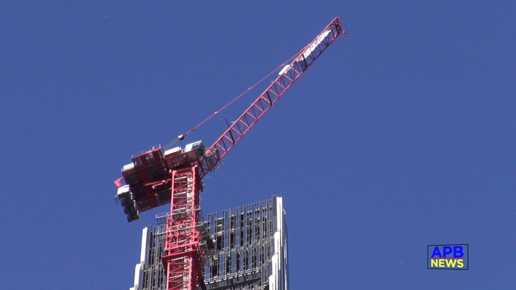 Debris Falling From 111 West 57th Street Construction Site After High Wind Crane Incident