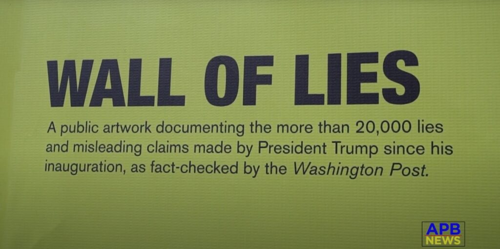 A huge mural of more than 20,000 of Donald's Trump questionable claims is on display in Soho